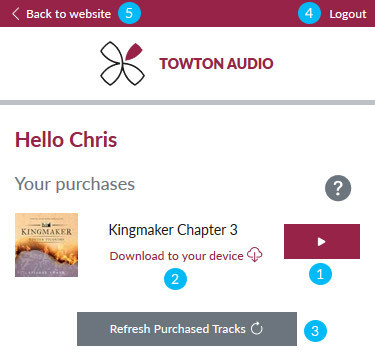 Using the Web Audio Player - Your purchases Image